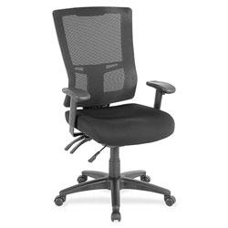Lorell Hi Back Mesh Chair, 26 in x 27-1/2 in x 46 in, Black