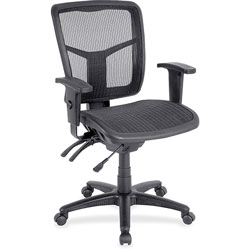 Lorell Mesh Swivel Midback Chair, 25-1/4 in x 23-1/2 in x 40-1/2 in, BKSR