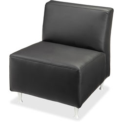 Lorell Lounge Chair, No Arms, Leather, 24-1/2 in x 29 in x 29-1/2 in, Black