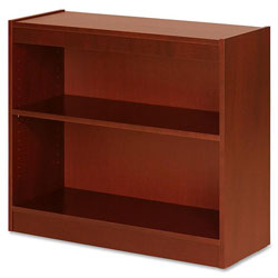 "Lorell 2 shelf Veneer Panel Bookcase, 36"" x 12"" x 30"", Cherry"