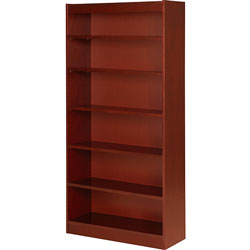 "Lorell 6 Shelf Veneer Panel Bookcase, 36"" x 12"" x 72"", Cherry"