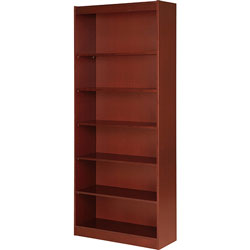 "Lorell 7 Shelf Veneer Panel Bookcase, 36"" x 12"" x 84"", Cherry"