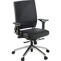 Lorell Executive Swivel Chair,28-1/2 inx28-1/4 inx43-1/2 in,Black Leather
