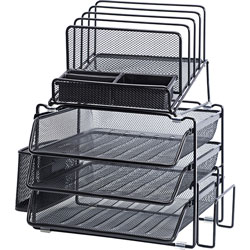 Lorell Mesh Desktop Organizer, 12-7/8 inWx14-3/8 inDx15-3/4 inH, Black
