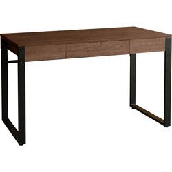 Lorell SOHO Table Desk, 47 in x 23.5 in x 30 in, 1, Band Edge, Material: Steel Leg, Laminate Top, Polyvinyl Chloride (PVC) Edge, Steel Base, Finish: Walnut, Powder Coated Base