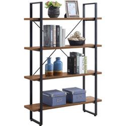 Lorell SOHO 4-Shelf Metal Frame Bookcase, 29 in x 11.8 in x 57.5 in, 4 Shelve(s), Walnut, Powder Coated Frame
