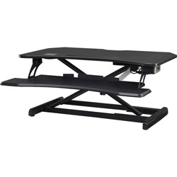 Lorell Electric Desk Riser with Wireless Device Charging, 20 in Height x 19.3 in Width x 33.5 in Depth, Desktop, Black