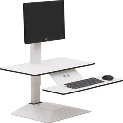 Lorell Monitor Riser with Keyboard Tray, 25-5/8 in x 25 in x 4-3/8 in-21-5/8 in, White