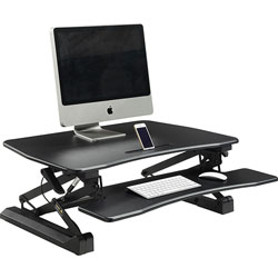 Lorell Desk Riser, Adjustable, Gas Lift, 26-1/2 in x 38-1/2 in x 9-1/4 in, Black