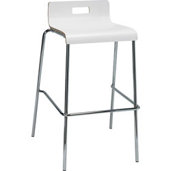 Lorell Stool, Brentwood, Low-back, 20-1/2 inx22x34 in, 2/CT, White