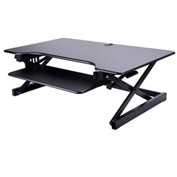 Lorell Sit-To-Stand Desk Riser, 37 in x 24 in x 16 in, Black