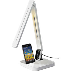 Lorell LED Desk Lamp w/Build In Docking Station f/Charging, White