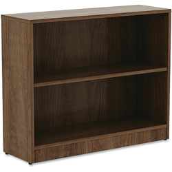 Lorell 2-Shelf Bookcase, 36 in x 12 in x 29-1/2 in, Walnut