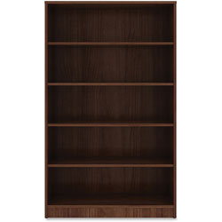 Lorell 5-Shelf Bookcase, 36 in x 12' x 60', Walnut