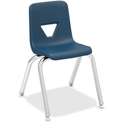 Lorell Stacking Student Chair, 14-3/4 in x 16-1/2 in x 25 in, Navy