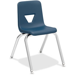 Lorell Stacking Student Chair, 16 in x 20-1/2 in x 27 in, Navy