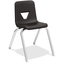 Lorell Stacking Student Chair, 16 in x 20-1/2 in x 27 in, Black
