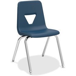 Lorell Stacking Student Chair, 18-3/4 in x 20-1/2 in x 30 in, Navy