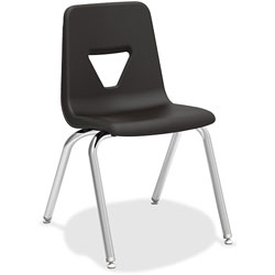 Lorell Stacking Student Chair, 18-3/4 in x 20-1/2 in x 30 in, Black