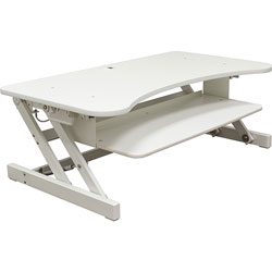 Lorell Deluxe Adjustable Desk Riser, 37-1/2 in x 20-1/2 in x 16 in, White