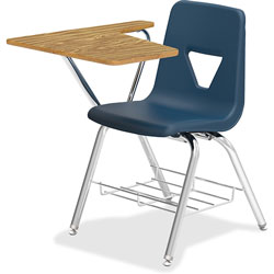 Lorell Tablet Arm Student Desk, 20 in x 29-1/2 in x 30 in, 2/CT, Navy
