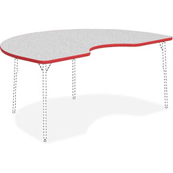 Lorell Activity Tabletop, Kidney, 48 in x 72 in, Gray/Red