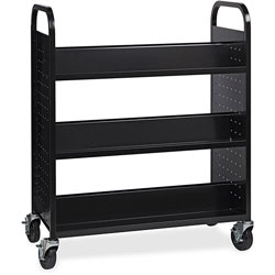 Lorell Book Cart, Double-sided, 6 Shelves, 38 in W x 18 in D x 46-1/4 in H, Black