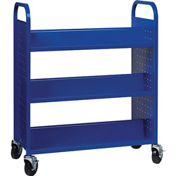 Lorell Book Cart, Double-sided, 6 Shelves, 38 in W x 18 in D x 46-1/4 in H, Blue