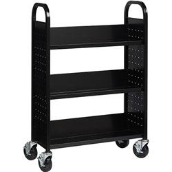 Lorell Book Cart, Single-sided, 3 Slant Shelves, 32 in x 14 in x 46 in, Black