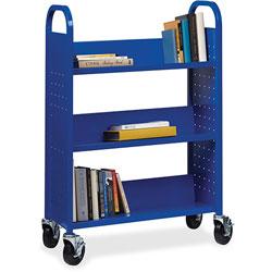 Lorell Book Cart, Single-sided, 3 Slant Shelves, 32 in x 14 in x 46 in, Blue