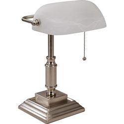 Lorell Banker's Lamp, LED, 10-Watt, 6-1/2 inWx6-1/2 inLx15 inH, Silver