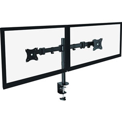 Lorell Monitor Arm, Double, Adjustable, 33 in x 17 in x 18 in, Black