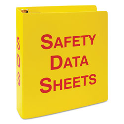 LabelMaster GHS SDS Binder, 3 Rings, 2.5 in Capacity, 11 x 8.5, Yellow/Red