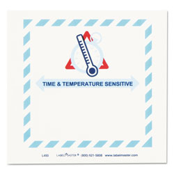 LabelMaster Shipping and Handling Self-Adhesive Labels, TIME and TEMPERATURE SENSITIVE, 5.5 x 5, Blue/Gray/Red/White, 500/Roll