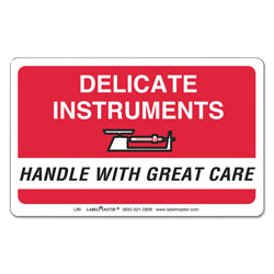 LabelMaster Shipping and Handling Self-Adhesive Labels, DELICATE INSTRUMENTS, HANDLE WITH CARE, 2.25 x 4, Red/White, 500/Roll