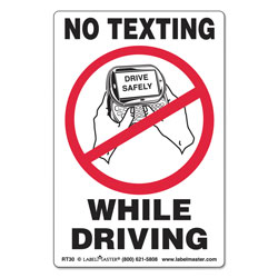 LabelMaster No Texting Self-Adhesive Labels, NO TEXTING WHILE DRIVING, 6.5 x 4.5, White/Black/Red, 500/Roll