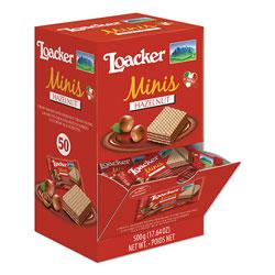 Loacker Classic Mini Snack, Hazelnut, 0.35 oz, 50/Box