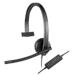 Logitech USB H570e Over-the-Head Wired Headset, Monaural, Black