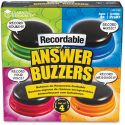 Learning Resources Recordable Answre Buzzers Set, 4Pcs, Ast