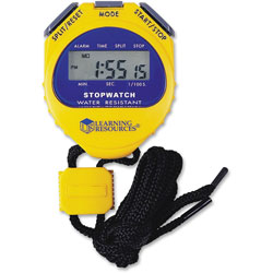 Learning Resources Big Digit Stopwatch, Waterproof, 1/100 Second, Alarm, Yellow