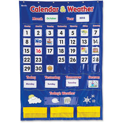 Learning Resources Calendar/Weather Pocket Chart, 30-3/4 in x 44-1/4 in, Multi