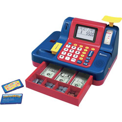 Learning Resources Teaching Cash Register, 13 in x 9-1/2 in x 8 in, Multi