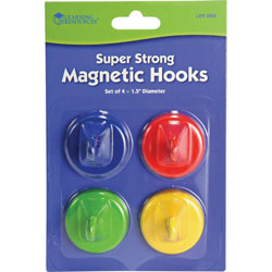 Learning Resources Super Strong Magnetic Hooks, 1 1/2 in Diameter, Red, Blue, Yellow, Green, 4/Pack