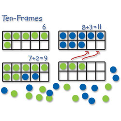 Learning Resources Giant Magnetic Ten-Frame Set, 12 1/4 inL x 5 inH, Blue/Green