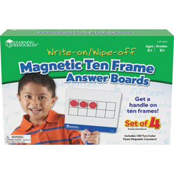 Learning Resources Magnetic Ten Frame Boards, 4 Blue/White Boards, 100 Red/Yellow Foam Counters