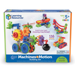 Learning Resources Building Set, Machines in Motion, 11 inWx14-1/2 inLx4 inH