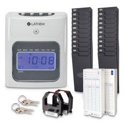 Lathem Time 400E Top-Feed Time Clock Bundle, White