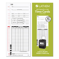Lathem Time Time Cards for Lathem 7000E and 7500E Time Clocks, Bi-Weekly; Semi-Monthly; Weekly, Two-Sided, 3.38 x 8.78, 100/Pack