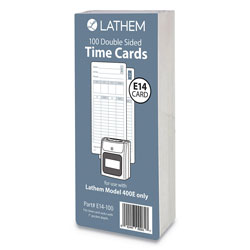 Lathem Time E14-100 Time Cards, Bi-Weekly/Monthly/Semi-Monthly/Weekly, Two Sides, 7 in