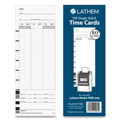 Lathem Time E17-100 Time Card, Bi-Weekly/Monthly/Semi-Monthly/Weekly, One Side, 9 in, 100/Pack